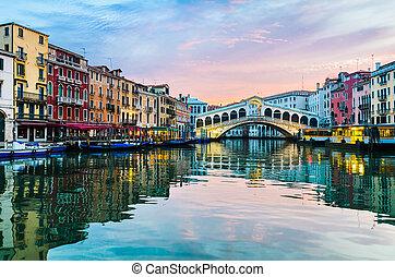 venecia, salida del sol, puente, rialto