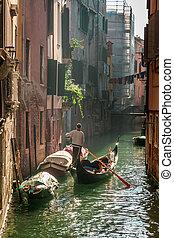 venecia, solitario, flotar, gondolero