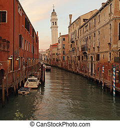 veneciano, canal, pictorial, anochecer