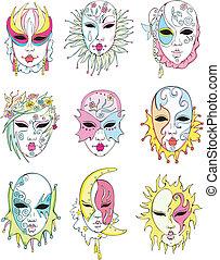 veneciano, carnaval, máscaras, mujeres