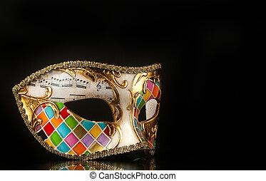veneciano, estilo, máscara, arlequín