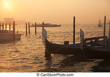 veneciano, góndolas, venecia, salida del sol