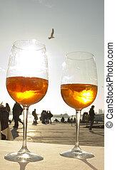 veneciano, glases, gaviota, bebida, dos