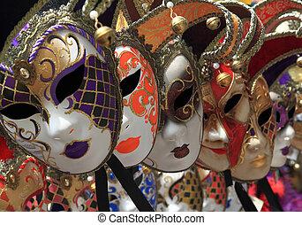 veneciano, vendimia, grupo, máscaras, carnaval