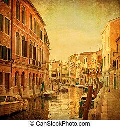 veneciano, vendimia, imagen, italia, canales