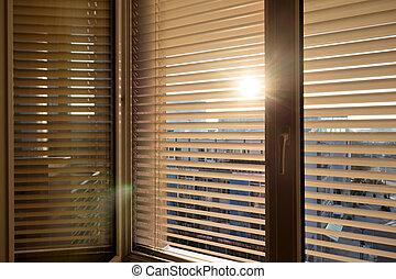 veneciano, ventana, persianas, sombra