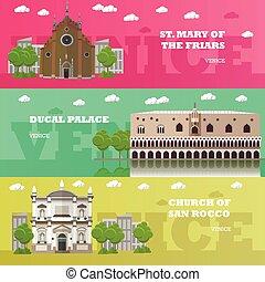 venedig, anläggningar., banners., resa, illustration, berömd, vektor, gränsmärke, italiensk, concept., turist