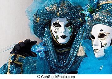 venedig, dräkt, karneval