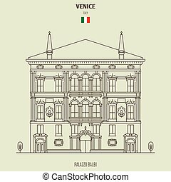 venedig, italy., grenzstein, palazzo balbi, ikone