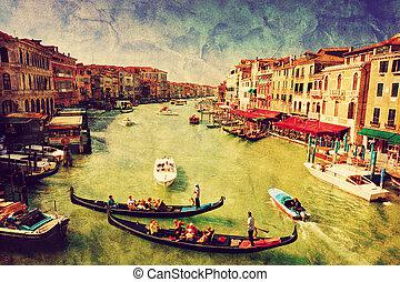 venedig, kunst, großartig, canal., weinlese, italy., gondel