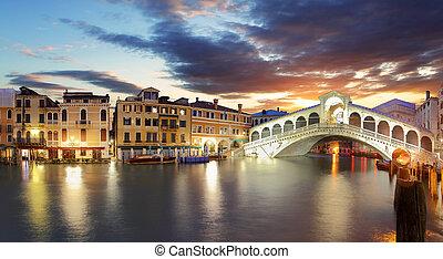 venedig, -, rialto bro, og, grand canal