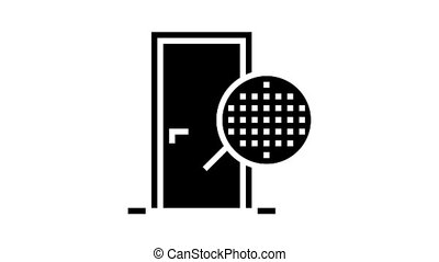 veneer material door animated glyph icon. veneer material door sign. isolated on white background