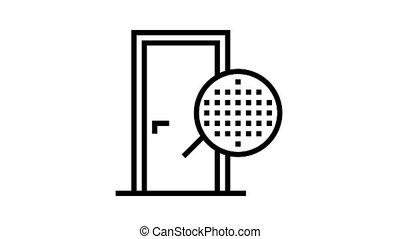 veneer material door animated black icon. veneer material door sign. isolated on white background