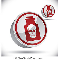 veneno, botella, con, cráneo, 3d, icon.