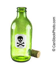 veneno, botella, en, un, blanco