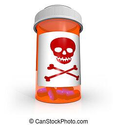 veneno, cráneo y crossbones, símbolo, en, botella medicina