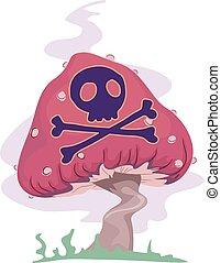 venenoso, piscodelica, cogumelo