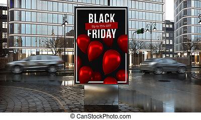 venerdì, città, nero, centro, annuncio pubblicitario, ...