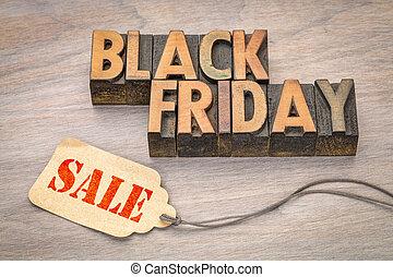 venerdì, nero, legno, bandiera, tipo, vendita