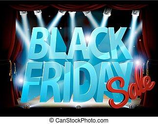 venerdì, nero, vendita, palcoscenico, segno