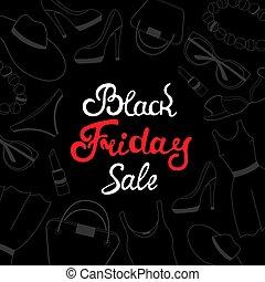 venerdì, vendita, donne, accessories., abbigliamento nero, scheda, design.