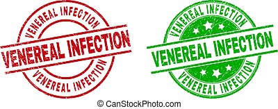 Round VENEREAL INFECTION seal stamps. Flat vector textured stamps with VENEREAL INFECTION title inside circle and lines, in red and green colors. Stamp imprints with corroded texture.