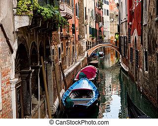 venetiaan, canal., italië