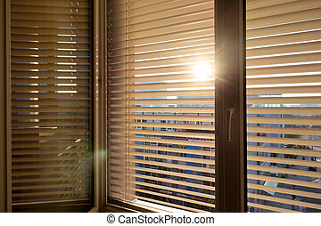 venetian blinds for shade at the window - to protect against...