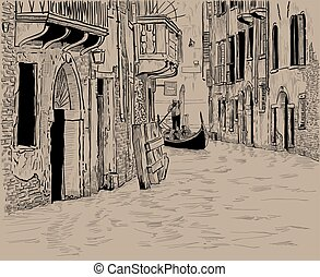 Venetian canal and Unique gondola with tourists among old houses in Venice. Digital Sketch Hand Drawing