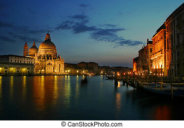 Venetian canal. - Grand canal at evening in Venice, Italy.