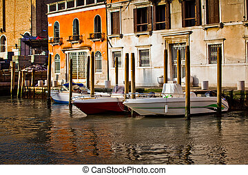 Venetian canals with boats