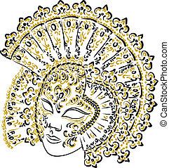 Venetian carnival mask. Vector illustration.