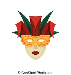 Venetian carnival mask. Vector illustration on white background.