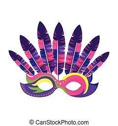 Venetian carnival mask with feathers