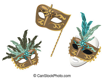 Carnival Masks - Venetian Carnival Masks isolated on white...