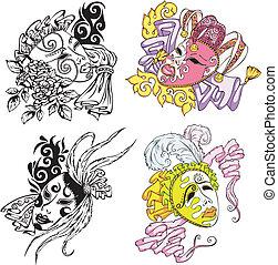 Venetian carnival masks. Set of color and black/white vector illustrations.