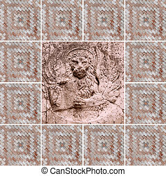venetian collage with winged lion  - symbol of St Mark  -  framed with marble venetian mosaic
