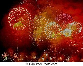 Venetian fireworks - Festa del Redentore in Venice red, ...