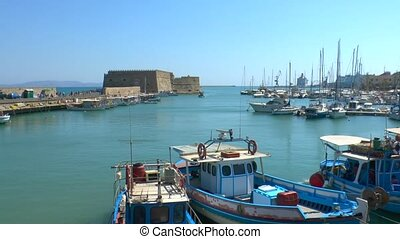 Venetian Fortress Koules  and harbor, Heraklion, Crete