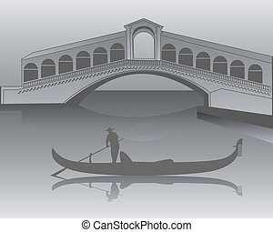Venetian gondola from the Rialto Bridge in shades of gray -...