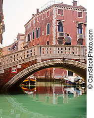 Venetian Gondolier waiting for a passengers