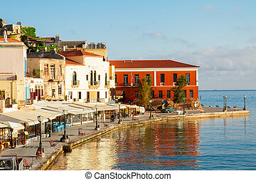 venetian habour of Chania, Crete, Greece - famouse venetian...