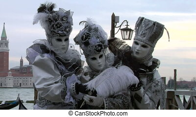 venetian mask 42 - Person in Venetian costume attends the...