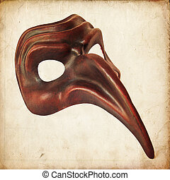 Venetian mask, the plague doctor, on white background