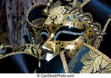 Venetian mask - Ornate handmade venetian mask on black...