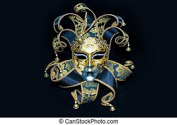 Ornate handmade venetian mask on black background