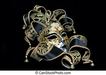 Venetian mask - Ornate venetian mask lying on black ...