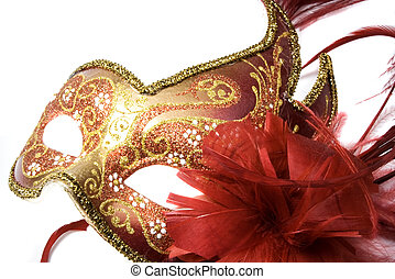 venetian mask - Venetian mask red with gold, isolated on...