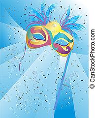 Venetian mask - vector illustration of a bautiful, colorful...