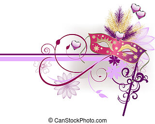 vector illustration of a carnival mask on an abstract floral background